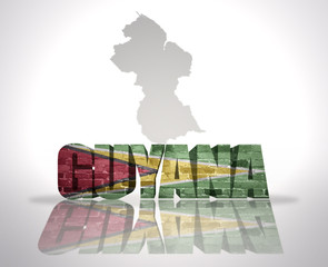 Word Guyana on a map background