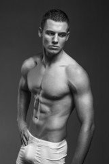 Black and white photos of the handsome and muscular man with a m
