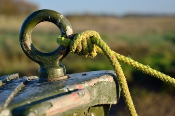 Detail of boat bow with rope