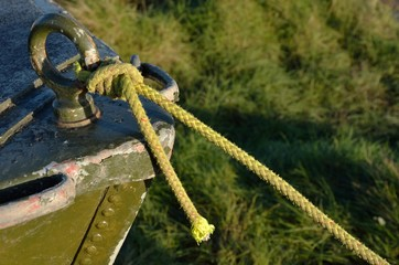 Close up of green boat bow