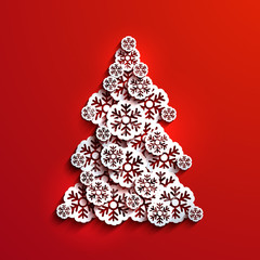 Vector modern snowflakes christmas tree background.