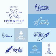 Vector Rocket Logo Set