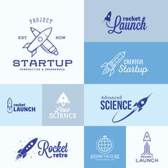 Vector Rocket Logo Set