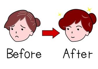 髪が減った女性とふさふさの女性