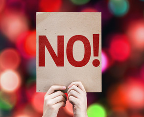 No! card with colorful background