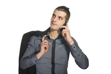 Business man at phone on the white