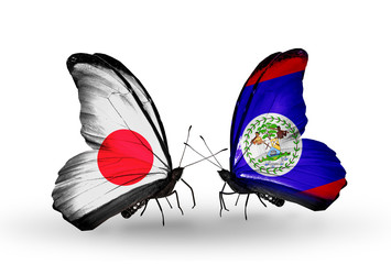 Two butterflies with flags Japan and Belize