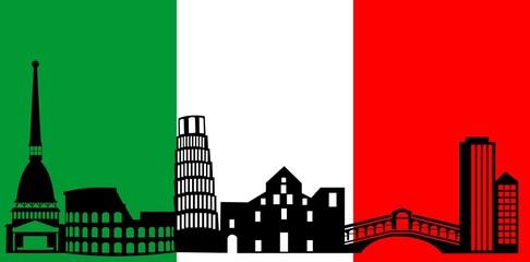 Italy skyline and flag