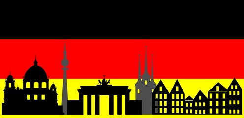 Germany  skyline and flag
