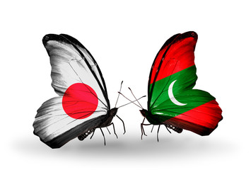 Two butterflies with flags Japan and Maldives