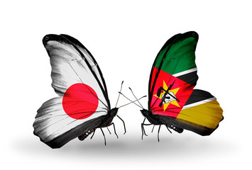 Two butterflies with flags Japan and Mozambique