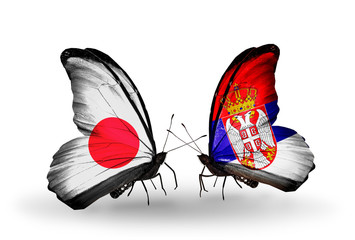 Two butterflies with flags Japan and Serbia