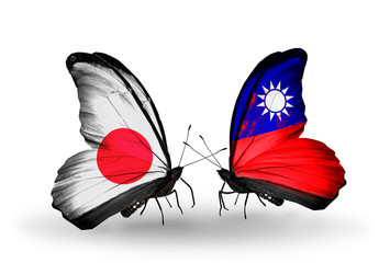 Two butterflies with flags Japan and Taiwan