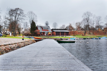 Trakai, Lithuania, November, 20, 2014: pier in Trakai,