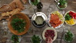 Eating time-lapse, top view of vintage wooden table settings
