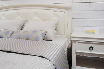 close-up of a bedroom in modern style