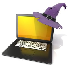 3D rendering of a open black laptop with Halloween hat