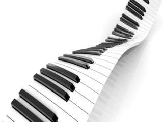 Wavy abstract piano keyboard isolated on white