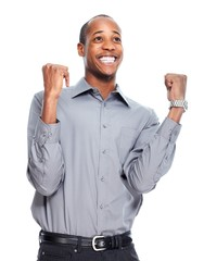 Happy African American businessman