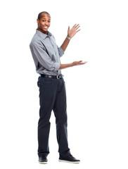 African-American man presenting copyspace