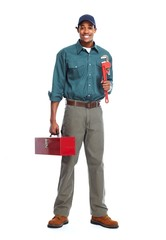 African American plumber man.