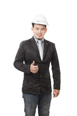 young asian engineering man standing by wearing western suit and