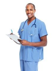 African american doctor writing prescription.