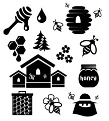 Honey icon set vector