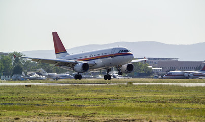 Italy, Tuscany, Florence Airport, landing airplane