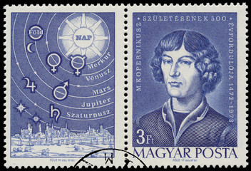 Stamp printed by Hungary shows M. Copernicus