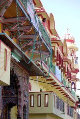 Architectural detail of a colorful Hindu temple in Pushkar