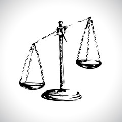 Scales of Justice. Sketch. Vector illustration.