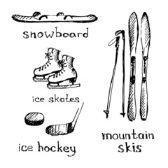 Winter sports. Sketch. Vector illustration.