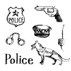 Set of hand drawn police symbols. Vector illustration.