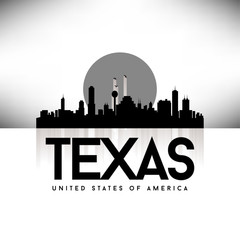 Texas USA Skyline Silhouette Black vector