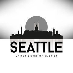 Seattle USA Skyline Silhouette Black vector