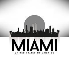 Miami USA Skyline Silhouette Black vector