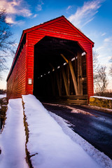 Winter view of Loy's Station Covered Bridge in rural Frederick C