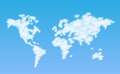 Clouds World Map Illustration