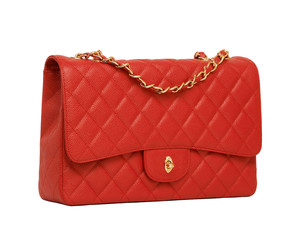 Women's red leather handbag