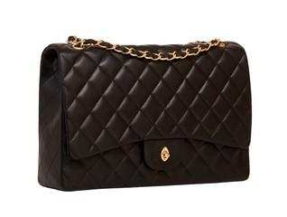 Women's black leather handbag