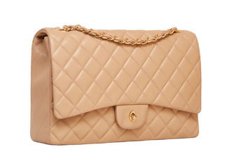 Women's beige leather handbag