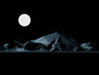 Low-Poly Mountain at Night with Full Moon - 74866804