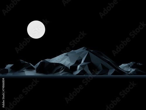Low-Poly Mountain at Night with Full Moon