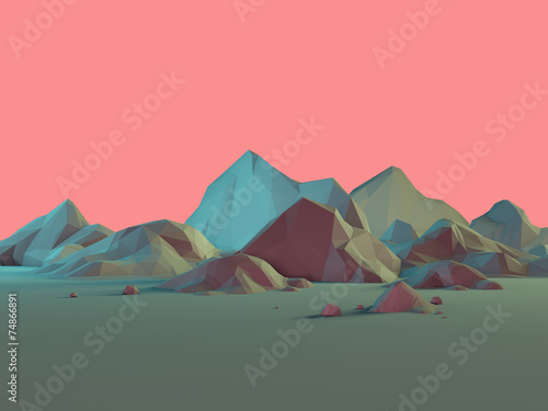 Low-Poly 3D Mountain Landscape with Pastels