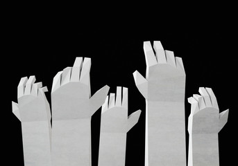 Stylized 3d Rendered Hands Up In the Air. Isolated on Black.