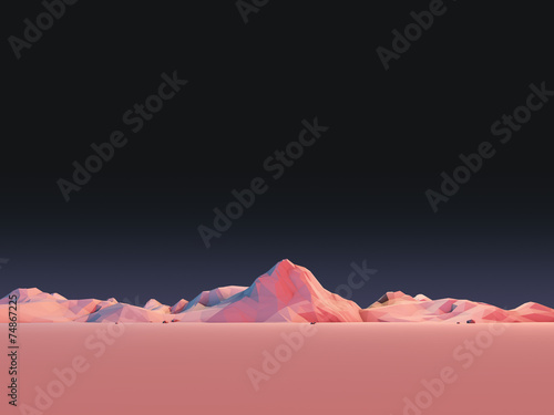 Leinwanddruck Bild Low-Poly Mountain Landscape at Night