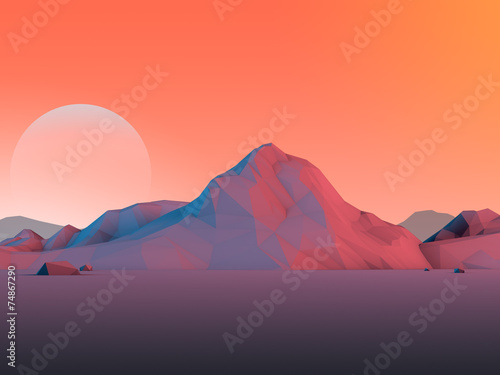 Low-Poly Mountain Landscape with Moon