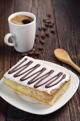 Creamy cake and coffee