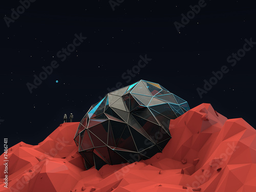 Leinwanddruck Bild Geometric 3d Space Base with Astronauts